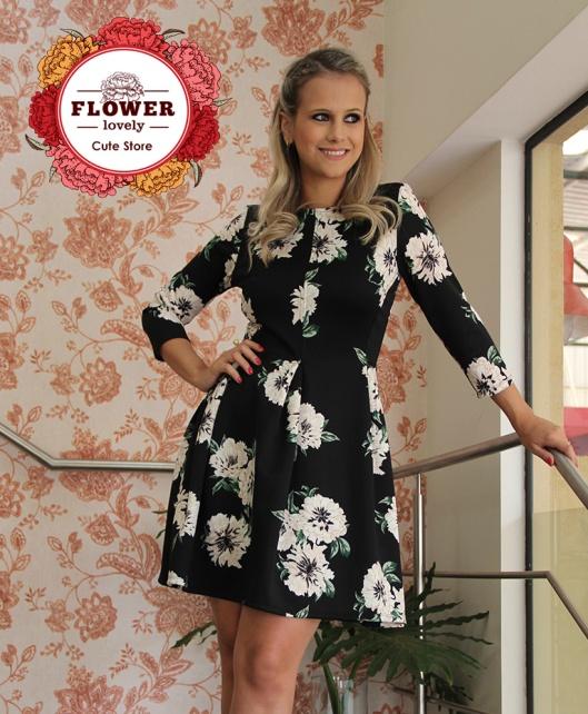 Vestido Floral PRETO 2